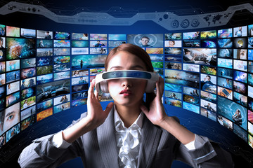 young woman wearing heads mount display and various pictures. internet streaming service concept.