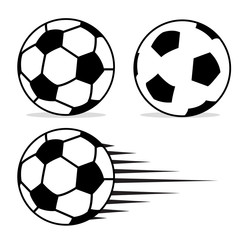 Football ball flat design set with isolated on white background vector. Soccer ball pictogram. Football logo design vector illustration