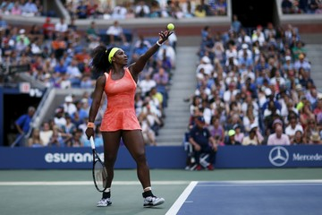 Williams of the U.S. serves to Keys of the U.S. during their fourth round match at the U.S. Open Championships tennis tournament in New York