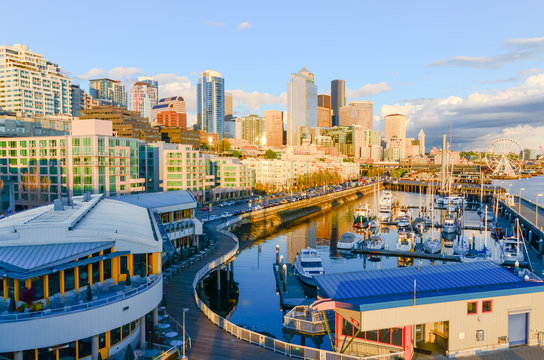 Beautiful view of Seattle waterfront and skyline at sunset. Marina at pier 66, and the great wheel (ferris wheel) can be seen in distance at far left corner. Travel and urban architecture background.
