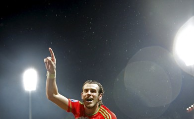 Wales' Gareth Bale celebrates after they qualified for Euro 2016 following their qualifying soccer match against Bosnia in Zenica