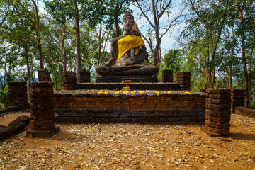 Wat Khao Phanom Phloeng Temple at Si Satchanalai Historical Park, a UNESCO World Heritage Site in Thailand