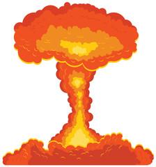 Mushroom cloud atomic bomb vector icon
