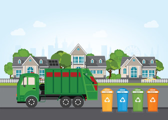 City waste recycling concept with garbage truck.