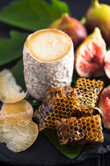 Hard Goat Cheese with Fresh Figs and Honeycombs