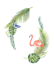 Watercolor bouquet of tropical leaves and the pink Flamingo isolated on white background.