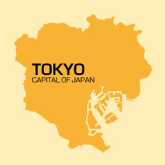 simple outline map of the Japanese capital Tokyo