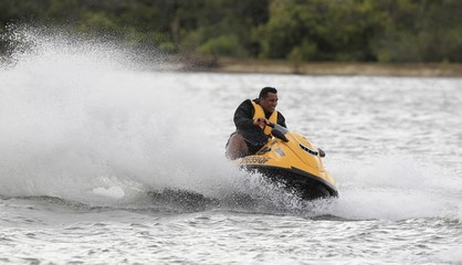 British & Irish Lions Ride Jet Skis On The Noosa River