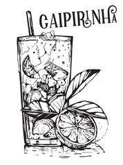 Vector image of summer cocktail Caipirinha.