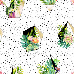 Watercolor exotic abstract terrarium plants seamless pattern.