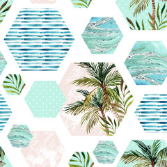 Abstract summer geometric hexagon shapes seamless pattern