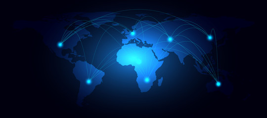 World map and line nodes networking technology