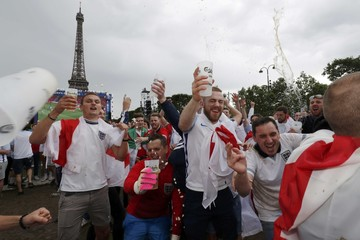 England fans with beer gather in the fan zone to watch a EURO 2016 match in Paris