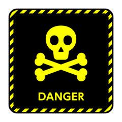 サイン 危険 ドクロ,骨,骸骨,黄色