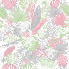 Tropical summer print with exotic leaves and plants. Trendy colors hand drawing seamless pattern