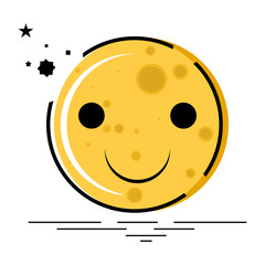 Cute and Happy moon emoji, isolated vector object.