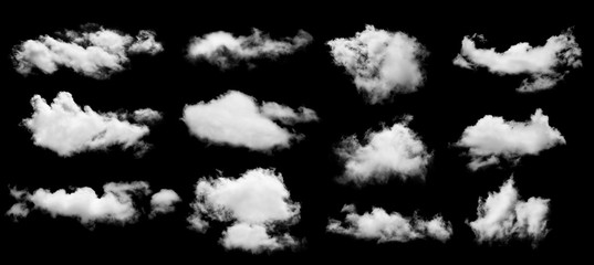 Poster Heaven set of white cloud isolated on black background