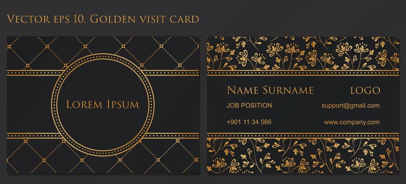 VECTOR eps 10. Design for Visiting card and business card with elegant flowers. In CMYK. Front page and back page. 90mm - 50mm