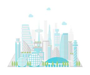Cartoon Future City on a Landscape Background. Vector