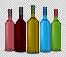 Set of realistic wine bottle on a transparent background. Shiny bottle vector illustration.