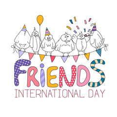International friends day greeting card with funny birds. Hand drawing cartoon birds and lettering. Vector illustration.