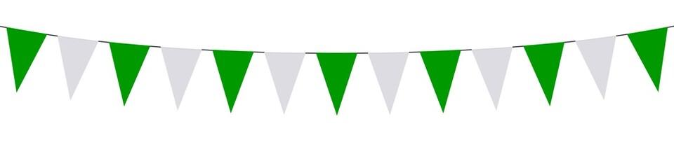 Guirlande, fanions verts et blancs