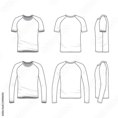 Vector templates of clothing set. Front, back, side views of blank ...