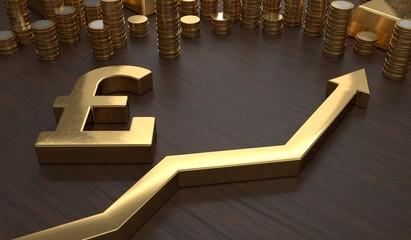 Golden pounds symbol and arrow up. 3D rendered illustration.