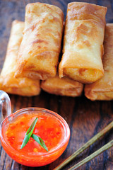 Spring Rolls with Chili Sauce