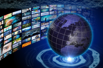 worldwide internet streaming service concept.