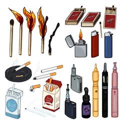 Vector Cartoon Set of Smoking and Vaping Items.
