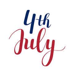 Vector calligraphy 4th of July celebration icons