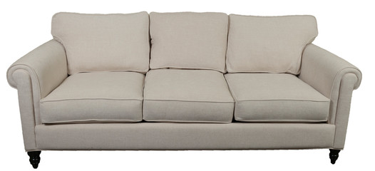 contemporary white sofa with rolled arms against white background