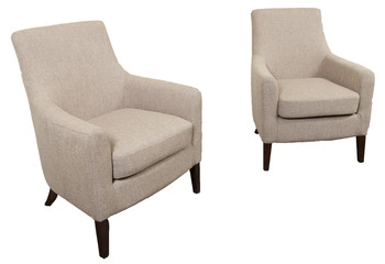 pair of 2 white contemporary armchairs against white background