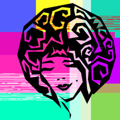 Glitch girl abstract vector portrait