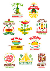 Vector icons set for mexican fast food restaurant
