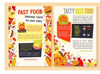 Vector fast food posters for restaurant
