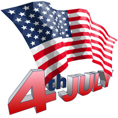 4th July and American flag in triangular style isolated.