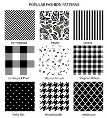 Popular fashion pattern set vector
