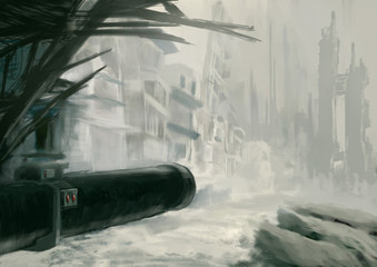 Digital painting of an apocalyptic destroyed cityscape