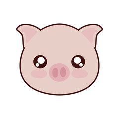 kawaii piggy animal icon over white background vector illustration