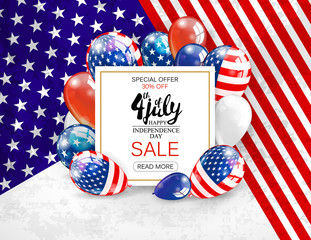 Independence day sale banner template design. White plate on patriotic colors background, Vector