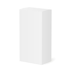White blank paper box mockup isolated - half side view. Vector illustration