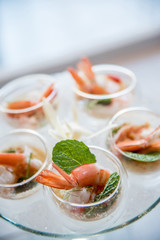 Selective focus on Spicy Prawn or Shrimp steamed with lemon salads and mint on top, Thai Food