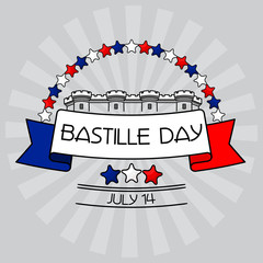 Bastille Day card. Stars, Bastille fortress,