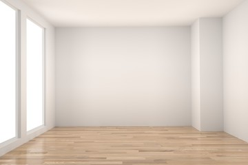 empty room in wood floor with light interior in 3D rendering