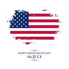 USA Happy Independence Day greeting card with brush stroke background in american national flag colors. Vector illustration.