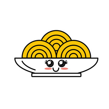 kawaii cute happy plate with spaguetti inside