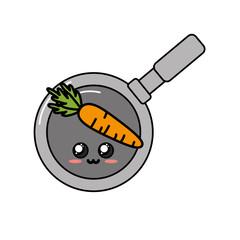 kawaii cute tender carrot inside skillet pan
