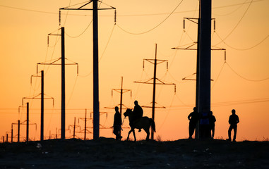 Men with a horse are silhouetted at sunset as they walk by electricity pylons in the former sea town of Aral, south-western Kazakhstan